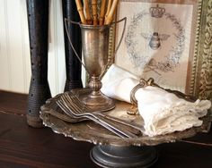 displaying antique silverware