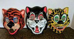 Vintage Halloween Ben Cooper plastic Animal mask Lot Set of 3 Cat tiger #BenCooper #Halloween Animal Masks, Plastic Animals, Halloween Masks, Vintage Halloween, Superhero, Cats, Fictional Characters, Gatos, Cat