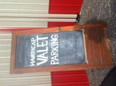Old door converted into a chalk signboard. Cool idea!