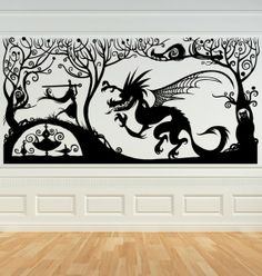 I found 'VINYL WALL ART DECAL - FANTASY DRAGON AND PRINCESS PANEL : Tim Burton, Alice, Poe, gothic, horror, halloween, vampire, bats, skull, zombie, dragon, fairy, victorian' on Wish, check it out!