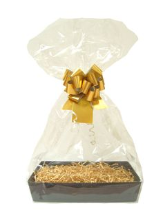 This Gift Kit has everything needed to make a gift hamper. Included is a: Gift Hamper Tray made from sturdy 1500g cardboard with a sophisticated printed black design measuring 20cm x 15cm x 5cm high 25g of Manila Crinkled Paper ShredClear Cellophane BagMatt Metallic Gold Pull BowGold Gift Tag with string Perfect for gifts and occasions all year round.