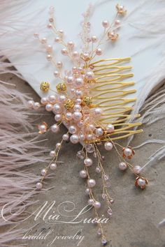 9b1f94c5e6c3 Blush Pink and Gold hair comb for bride Bridal hair piece
