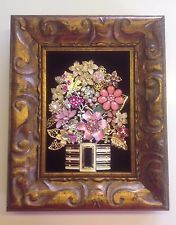 Framed Vintage Costume Jewelry Flower Bouquet Art One of a Kind Collectible