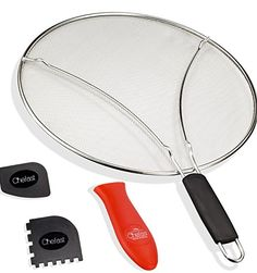 Chefast Splatter Screen Set: 13-Inch Stainless Steel Grease Splatter Guard, Cooking and Grill Pan Scrapers, and Silicone Hot Handle Holder - Elite Oil Splash Shield for Frying Pans, Pots, and Skillets