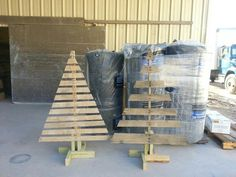 Pallet christmas trees! My wonderful husband made these for me.  Cant wait to paint them and add lights for the front yard!