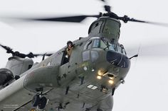 A Mk 3 Chinook in flight at RAF Odiham in Hampshire.