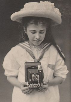 """Detail: """"Girl with Kodak"""": particulars witheld: vintage platinum print from PhotoSeed archive: circa x cm (mount: x cm) Vintage Children Photos, Vintage Girls, Vintage Images, Vintage Pictures, Antique Photos, Vintage Photographs, Old Pictures, Old Photos, Girls With Cameras"""
