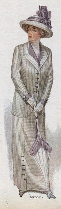Original 1912 illustration, like Rose's boarding suit -- Gwendolyn Edwardian Clothing, Edwardian Dress, Edwardian Era, Edwardian Fashion, Vintage Fashion, Vintage Clothing, Women's Clothing, Historical Costume, Historical Clothing