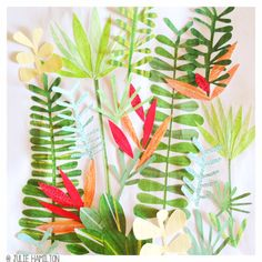 Tropical papercut goodness in the sketchbook - Julie Hamilton Creative… Collages, Collage Artists, Motifs Textiles, Tinta China, Moleskine, Watercolor Illustration, Art Paintings, Oeuvre D'art, Diy Art