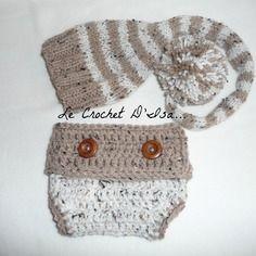 Reserve ensemble bebe bonnet lutin + cache couche  ideal seances photos bebe