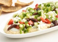 Greek layer dip with Hummus.  Perfect party app!