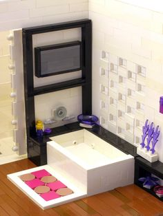 modern apartment made of lego blocks - bathroom. Built by Legohaulic. | via housology.com