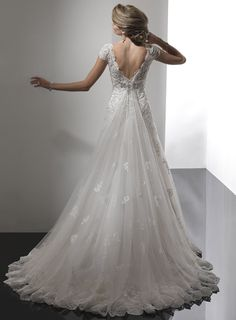 Vintage Buttoned and Laced Wedding Gown