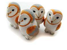 beads with horizontal holes   Large Barn Owl Beads - peruvian, ceramic, animal, large hole - LG598