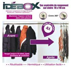 Sac de rangement aspirable sur cintre - 2 tailles - Idébox - Rangement du linge chez www.ac-deco.com Gain de place, protection des vêtements, organisation de dressing, plus de place pour rangement - chez www.ac-deco.com