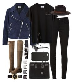 """""""Inspired outfit with over the knee boots"""" by pagesbyhayley ❤ liked on Polyvore featuring Burberry, Acne Studios, Zara, Yves Saint Laurent, Stuart Weitzman, B-Low the Belt, Luv Aj, Topshop and Black Apple"""