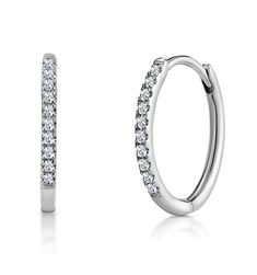 Stellato Diamond Encrusted Hoop Earrings in White Gold - Item Mens Diamond Earrings, Diamond Stores, Platinum Jewelry, Conflict Free Diamonds, White Gold Diamonds, Great Gifts, Gemstones, Silver, Highlight