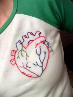 Anatomical heart - NEEDLEWORK. This nerd totally wants to make this!!