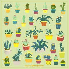Potted Cactus Set Free Vector