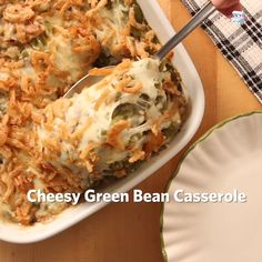 Cream Cheese and Bacon Green Bean Casserole is an easy side dish recipe perfect for Thanksgiving or Christmas. This creamy green bean casserole is loaded with real bacon bits and topped with Ritz Crackers and French's Fried Onions. Green Bean Casserole Bacon, Homemade Green Bean Casserole, Classic Green Bean Casserole, Side Dishes Easy, Side Dish Recipes, Veggie Recipes, Dinner Recipes, Holiday Side Dishes, Jello Recipes