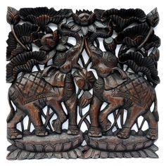 Relief Wandbild Wandbildrelief Teak Holz Elefant Motiv...