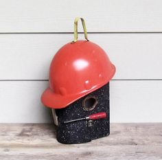 Vintage Lunch Box Birdhouse Repurposed Hard Hat One by Milepost7