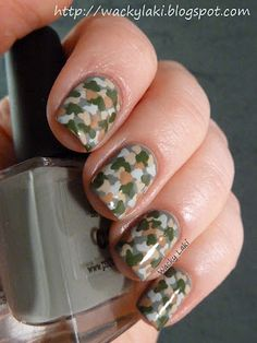 Camo print with a dotting tool - Must do this with my little cousins, their Daddy would live it!!