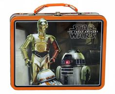 STAR WARS VII DROIDS TIN LUNCH BOX (Item # 12010343) Are these the Droids you're looking for? Yes! This cool metal lunch box features C-3PO, R2-D2, and the newcomer BB-8 on the outside, and plenty of room for snacks on the inside. It has a plastic handle and metal clasp closure. worthajoygifts.com