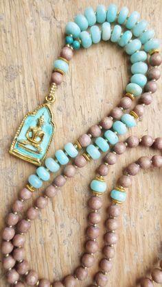 Mala Kette necklace brown wood vintage Amazonit turqoise türkis gemstones Buddha yoga prayer bronze von/by Weibertraum, DaWanda