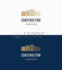 construction logo: Flat premium buildings logo template