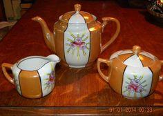 Vintage Orange & White Lusterware Teapot Set - Made in Japan