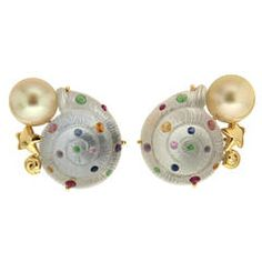 Crystal Snail Colored Stone Yellow Pearl Gold Earrings | From a unique collection of vintage clip-on earrings at https://www.1stdibs.com/jewelry/earrings/clip-on-earrings/