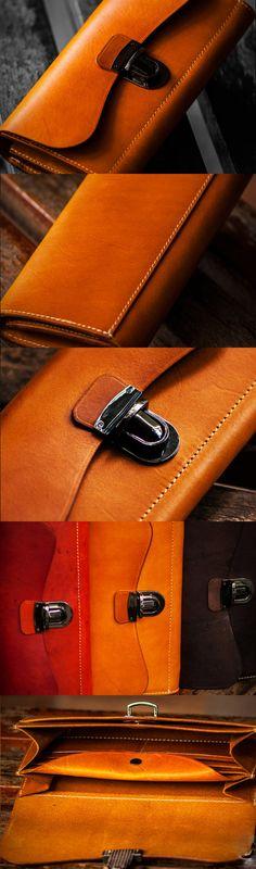 Handmade leather long clutch wallet coffee brown camel leather women men wallet