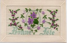 UNUSUAL AND BEAUTIFUL: EMBROIDERED WW1 SILK GREETINGS POSTCARD Vintage Cards, Vintage Postcards, Women In France, Embroidered Silk, Wwi, Pin Cushions, More Fun, Greeting Cards, Collections