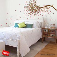 Adesivo de Parede - Árvore com folhas ao vento