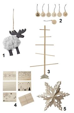 1. Wool Deer, 2. I wonder gift tags, 3. Decotree, 4. Merry Postcard, 5. Shooting Star I must say that...