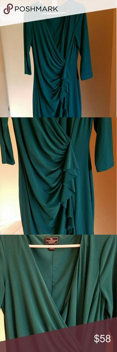 Sexy draped dress The color is green. The front has draped and ruffled detail down the front. Gorgeous! American Living  Dresses Long Sleeve