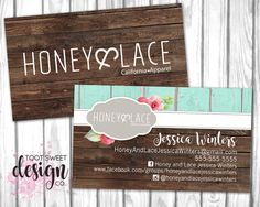 Honey and Lace Business Card, Custom Honey & Lace Business Card, Personalized Consultant Marketing Kit, Rustic Wood Shabby Chic PRINTABLE by TootSweetDesignCo on Etsy https://www.etsy.com/listing/498131766/honey-and-lace-business-card-custom