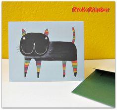 Funky cat greeting card Black cat greeting card by RyokoRainbow, $3.50