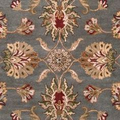 Overstock, Home-Garden/Hand-Tufted-Cambuslang-Grey-Red-Traditional-Border-Wool-Rug-9-X-12/6450051 CID=214117