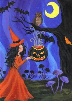 Black Lantern Spell Halloween witch art print by ArtBySarada, $8.00