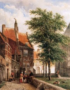 View behind the Grote Kerk in Naarden by Cornelis Springer