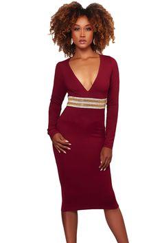 5114742ce23 Burgundy Rhinestone Embellishment Bodycon Midi Dress