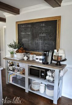 I want a coffee bar area like this, maybe next to the refrigerator. The Finishing Touches on Our Kitchen Makeover (Before and Afters) by Dear Lillie Kitchen Tops, Kitchen Redo, New Kitchen, Kitchen Dining, Kitchen Sideboard, Kitchen Pantry, Kitchen Cabinets, Cheap Kitchen, Diy Kitchen Makeover