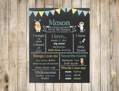 Where the Wild Things Are Chalkboard Birthday Printable Digital First Poster Sign Blue Gray Yellow 1st Favorites Likes Loves One Monster by clsprints on Etsy
