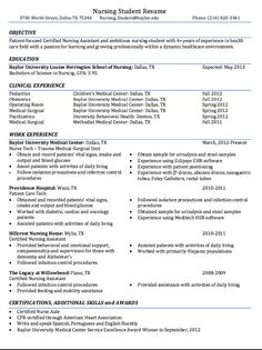 Sample Resume For Nursing Student Delectable P S Pnspalliero On Pinterest