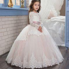 7ae998a753b8ada Abaowedding Длинные рукава розовый цветок платья для девочек 2017 пышные  бальные платья для девочек кружевное платье для первого причастия платья  для ...