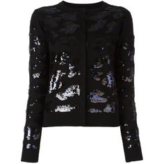 Sibling Sequin Embellished Cardigan ($318) ❤ liked on Polyvore featuring tops, cardigans, merino cardigan, merino wool tops, sequin embellished top, sequin cardigan and sequin top