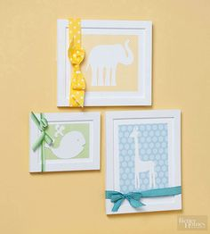 Go a little wild with this Christmas gift you make yourself. Kids adore animals, and these silhouettes are a fun room addition they'll love through the toddler years. Cut animal silhouettes from plain white cardstock, and mount them on colorful patterned paper. Adhere each paper to a white mat board cut to fit a frame. Insert silhouette in the frame, and tie a ribbon around the exterior./