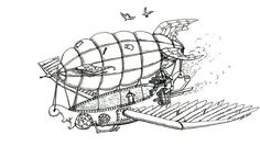DeviantArt: More Like Steampunk Airship - Ink by thefuzzyslug